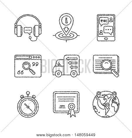 Set Of Vector Service Or Support Icons And Concepts In Sketch Style