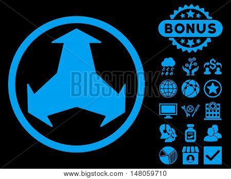 Directions icon with bonus elements. Vector illustration style is flat iconic symbols, blue color, black background.