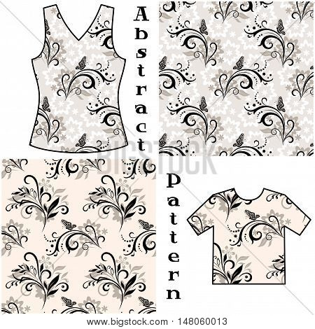 Seamless Patterns, Contours and Silhouettes Symbolical Flowers and Butterflies on Floral Background, Element for Design, Prints and Banners, For the Example Presented in a Female Top and Shirt. Vector