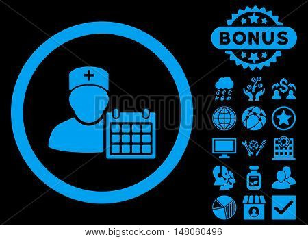 Doctor Appointment icon with bonus design elements. Vector illustration style is flat iconic symbols, blue color, black background.