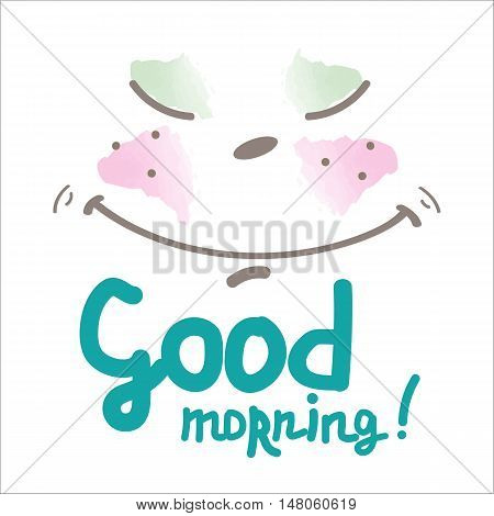 lettering good morning cute happy smiling face smiley