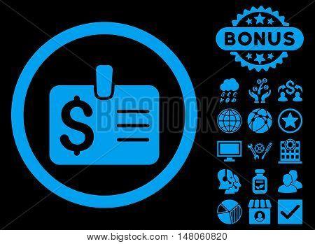 Dollar Badge icon with bonus symbols. Vector illustration style is flat iconic symbols, blue color, black background.