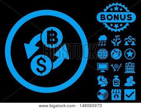 Dollar Baht Exchange icon with bonus pictogram. Vector illustration style is flat iconic symbols, blue color, black background.