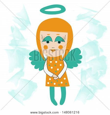 Smiling little angel girl with blue wings and halo big eyes and smile. Flying in clouds.