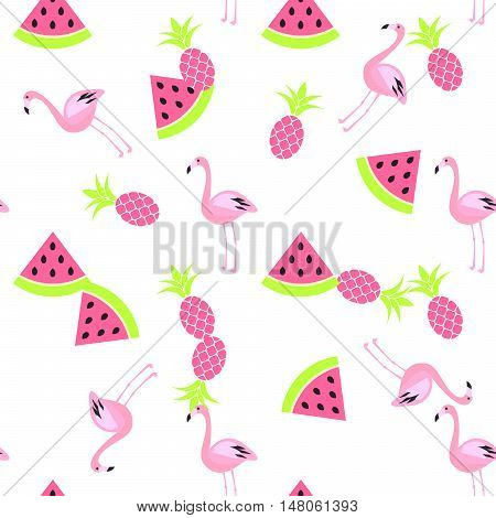 Tropic summer seamless white pattern with watermelon, flamingo and pineapples. Pink and green fun pattern.