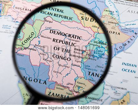 Magnifying Glass Over Democratic Republic on The Congo Map