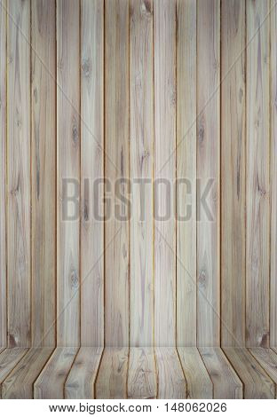 Teak wood perspective plank texture use for background.