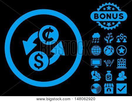 Dollar Cent Exchange icon with bonus pictogram. Vector illustration style is flat iconic symbols, blue color, black background.
