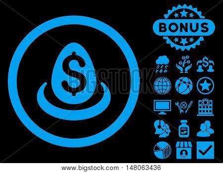 Dollar Deposit Egg icon with bonus symbols. Vector illustration style is flat iconic symbols, blue color, black background.
