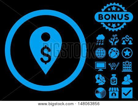 Dollar Map Marker icon with bonus images. Vector illustration style is flat iconic symbols, blue color, black background.