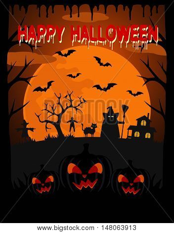 Happy Halloween vector background with witch and scary pumpkin