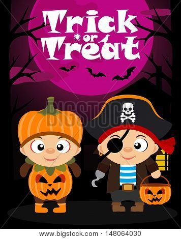 Halloween vector background trick or treating with children in Halloween costume