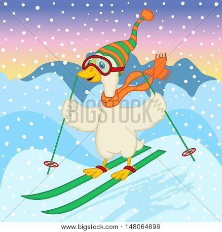 goose ski jumping - vector illustration, eps