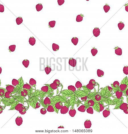 Seamless vector pattern with natural border of branches with ripe raspberry berries and berries arranged in a free style on a white background.