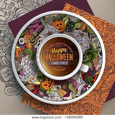 Vector illustration with a Cup of coffee and hand drawn Halloween doodles on a saucer, on paper and on the background