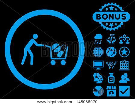 Drugs Shopping Cart icon with bonus elements. Vector illustration style is flat iconic symbols blue color black background.