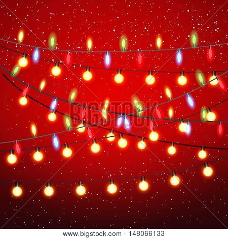 Yellow red green blue garland and bulbs at black strings on red background with snow. template for greeting or postal card, vector illustration