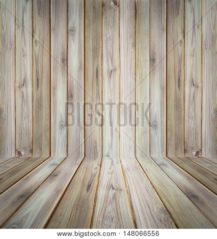Teak wood plank texture perspective use for background.