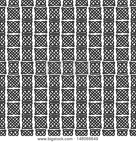 Celtic knot seamless black and white pattern. Digital paper.