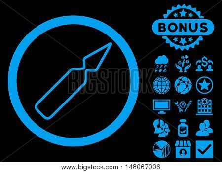 Empty Ampoule icon with bonus pictures. Vector illustration style is flat iconic symbols, blue color, black background.