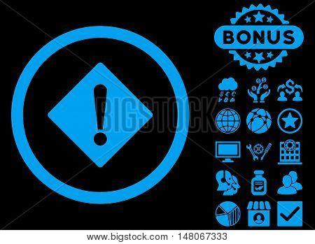 Error icon with bonus images. Vector illustration style is flat iconic symbols, blue color, black background.