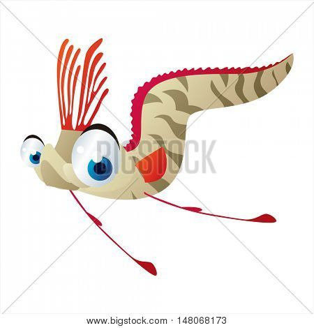vector funny image of cute bright color underwater sealife animal. Oarfish