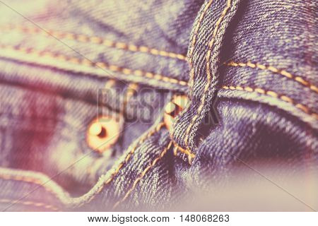 Blue denim jeans with vintage filter