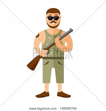 Man with a gun. Isolated on white background