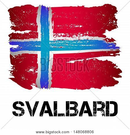 Flag of Svalbard from brush strokes in grunge style isolated on white background. Europe northernmost part of Kingdom of Norway. Vector illustration