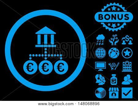 Euro Bank Transactions icon with bonus pictogram. Vector illustration style is flat iconic symbols, blue color, black background.