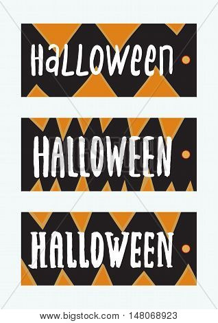 Set of Halloween Gift Tags. Cute and scary labels templates.Vector isolated illustrations