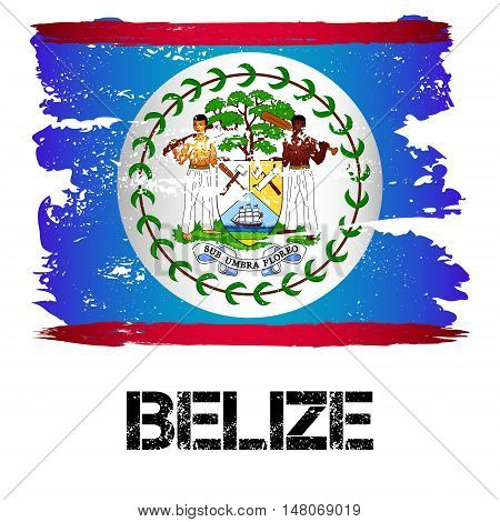 Flag of Belize from brush strokes in grunge style isolated on white background. Country in Central America. Vector illustration