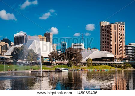 Adelaide Australia - September 11 2016: Adelaide city skyline viewed across Elder Park on a bright day