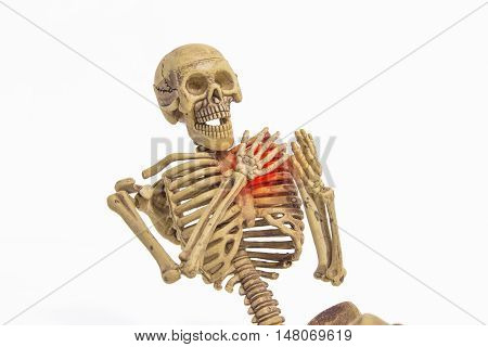 skeleton heart pain isolated add clipping path