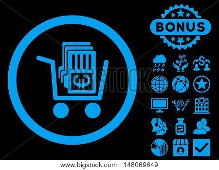 Euro Cash Out icon with bonus pictogram. Vector illustration style is flat iconic symbols, blue color, black background.