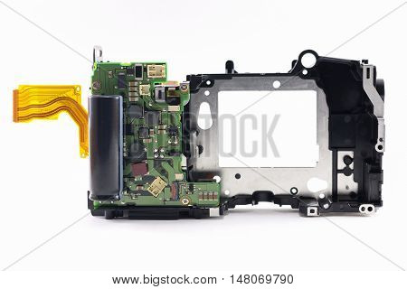 Repair parts inside dslr camera on white background isolated.