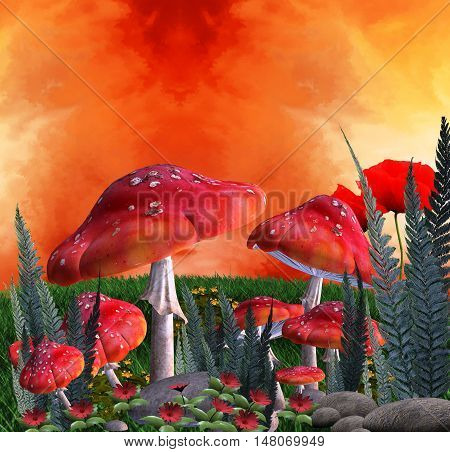 Magic place with fantasy red mushrooms and ferns