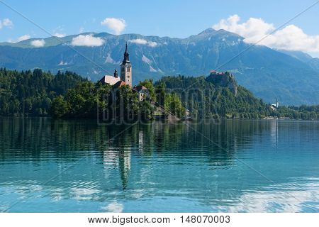 Lake Bled in Slovenia .View of the Church of the Assumption of the Virgin Mary