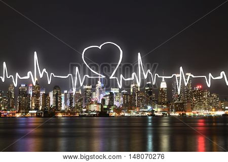 Abstract cardiogram on illuminated night city background