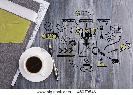 Top view of wooden desktop with business drawing coffee cup pen and electronic device in cover. Start up concept