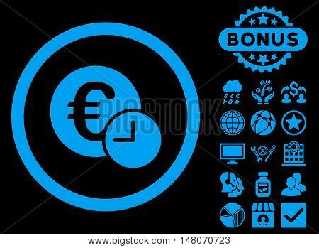 Euro Credit icon with bonus design elements. Vector illustration style is flat iconic symbols, blue color, black background.