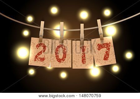 New year word in paper grunge panels hanging on rope by clothespin with lights vector illustration