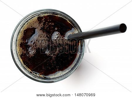 Glass Of Cola Isolated On White, From Above