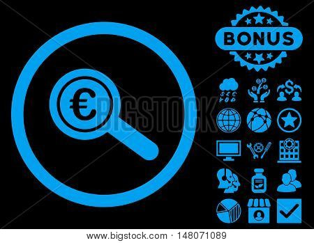 Euro Financial Audit icon with bonus symbols. Vector illustration style is flat iconic symbols, blue color, black background.