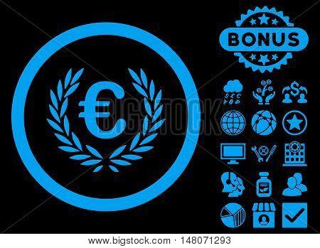 Euro Glory icon with bonus elements. Vector illustration style is flat iconic symbols, blue color, black background.