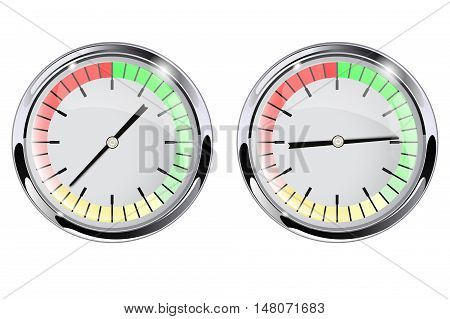 Manometer round dial. Measuring scale. Vector illustration isolated on white background