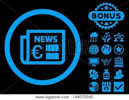 Euro Newspaper icon with bonus pictogram. Vector illustration style is flat iconic symbols blue color black background.