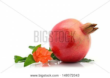 Close-up of indian pomegranate on a white background with pomegranate flower and leaf