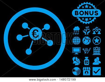 Euro Payments icon with bonus pictogram. Vector illustration style is flat iconic symbols blue color black background.