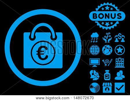 Euro Shopping Bag icon with bonus pictogram. Vector illustration style is flat iconic symbols, blue color, black background.